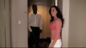 Cock loving, Czech brunette is about to have a steamy threesome in a hotel room