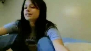 Dark haired girl is gently sucking her friend's dick and then he will fuck her