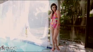 Busty asian fucked seethrough and titty jizzed by the pool