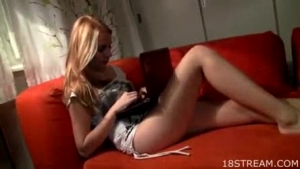 Splendid blonde toying her clit on the self