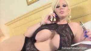 Tattooed blonde bitch, Alura Jenson is bouncing up and down while riding her new toy